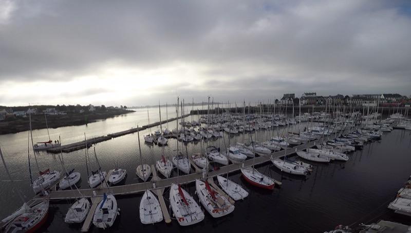 Le port de Concarneau, vu du hait du mat de notre voilier Guiriden
